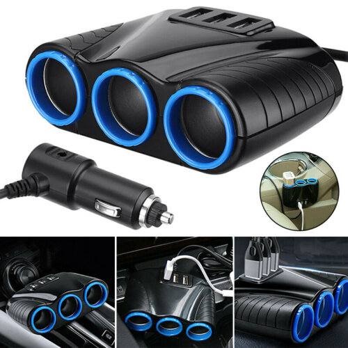 12V 3 WAY MULTI SOCKET CAR CIGARETTE LIGHTER SPLITTER 3 USB PLUG CHARGER PHONE