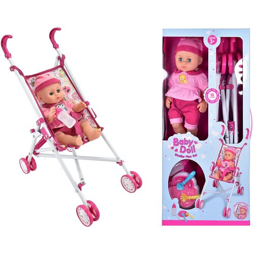Baby Doll Stroller Play Set With