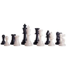 US Chess Federations Triple Weighted Plastic Chess Pieces - 3.75 King - Black  White