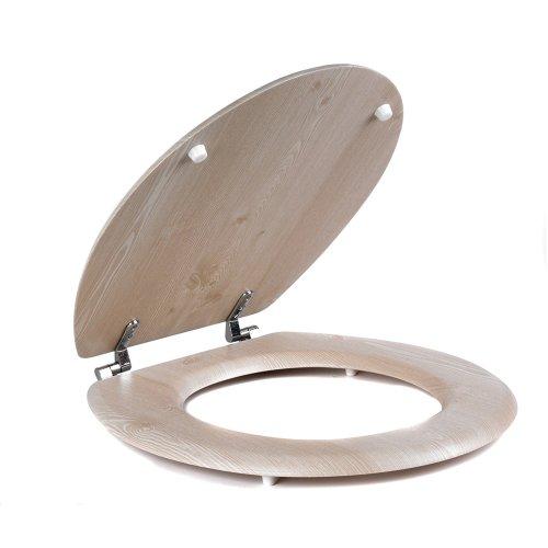 Beldray White Oak Veneer Toilet Seat Standard Oval Shape Easy Strong Alloy Fit