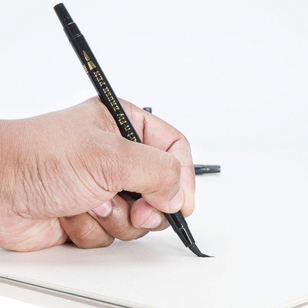 Fine and Large Black 2 Dual Tip Black Brush Pens for Lettering Calligraphy Pen