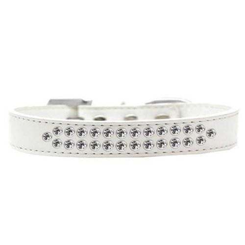 Mirage Pet Products613-01 WT-14 Two Row Clear Crystal Dog Collar, White - Size 14