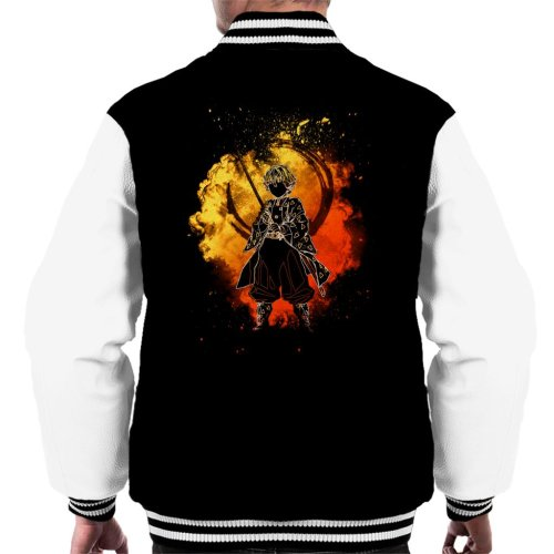 (X-Large, Black/White) Zenitsu Agatsuma Kimetsu No Yaiba Men's Varsity Jacket