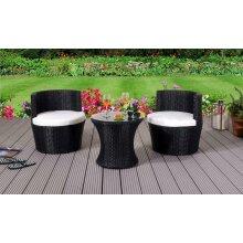 3 Piece Rattan Bistro Stackable Patio Garden Furniture Set