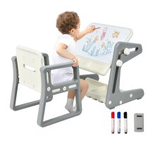 4-IN-1 Kids Table and Chair set Toddler Magnetic Study Desk Art Easel