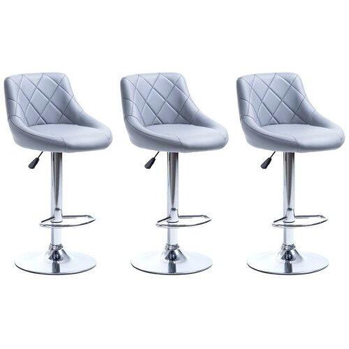 SET OF 3 GREY MADRID GAS LIFT BAR STOOLS, BREAKFAST KITCHEN BAR ETC