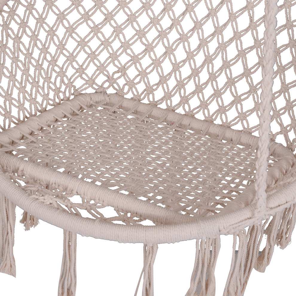 Outsunny Hammock Macrame Swing Chair Hanging Twisted Rope ...
