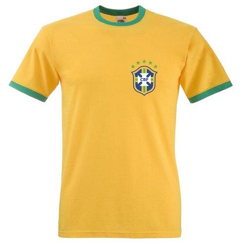 (S) Retro Brazil T Shirt. Ringer football style tee.