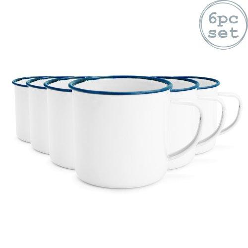 White Enamel Mugs Cups Retro Camping Outdoor Coffee Tea Mug Cup 240ml x6