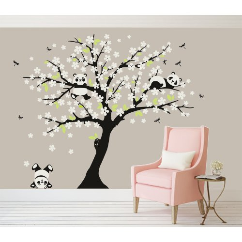 BDECOLL Cherry Blossom Wall Decal Playful Pandas in Cherry Blossom Tree | Panda Bear Nursery and Children's Room