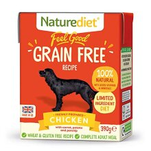 Naturediet Feel Good Grain Free Complete Wet Dog Food Chicken Tetra Pack, 18 x 390 g