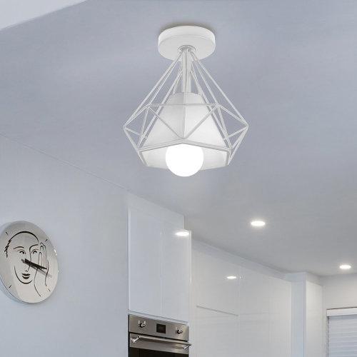 (White) Iron Diamond Cage Ceiling Lampshade Light Fixture