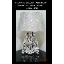 LUXURY Silver GLITTER Crushed Diamond COUPLE HEART TABLE LAMP