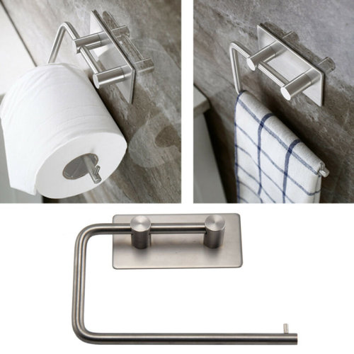 Polished Stainless Steel Toilet Roll Holder Self Adhesive Stick