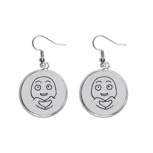 Heart Gesture Black Emoji Pattern Ear Dangle Silver Drop Earring Jewelry Woman