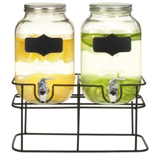vidaXL 2x Beverage Dispensers with Durable Metal Stand 2x4L Glass Transparent