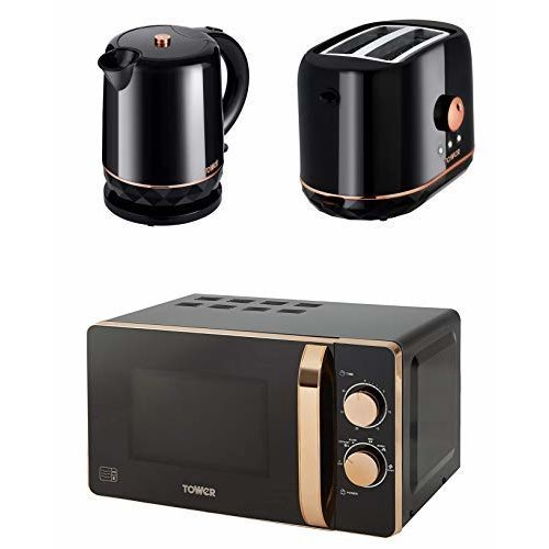 Retro Rose Gold & Black Manual 20L Microwave, 1.5L Jug 2.2kW Kettle &  2 Slice Toaster