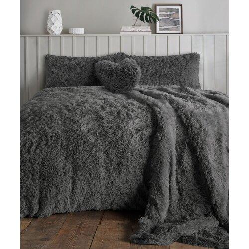 (Charcoal , King) Teddy bear Fleece Fur Alaska Cuddles Duvet Cover