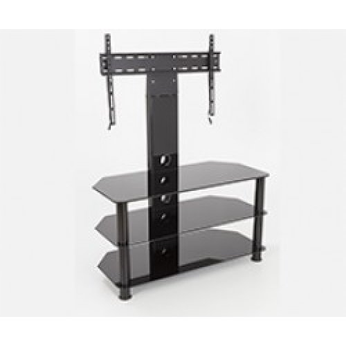 """King Upright Cantilever TV Stand with Bracket Black Glass Shelves 90cm from 32"""" - 60"""" inch for HD Plasma LCD LED OLED Curved TV"""