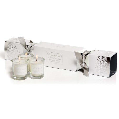Stoneglow Candles 3 Candle Jar Cracker Gift Set White Woods & White Jasmine