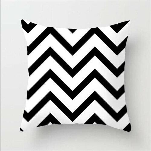 (Geometric C) Black White Square Geometric Cushion Covers Pillow Cases Sofa Waist Throw Decor