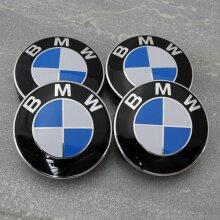 BMW ALLOY WHEELS BLUE CENTER CAPS SET (4) Face 60mm Clip 58mm