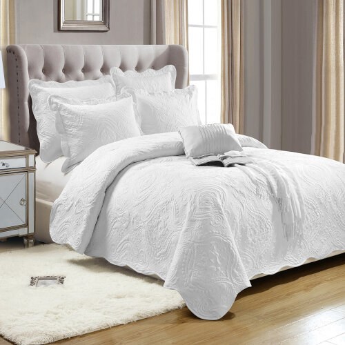 (King) 3 Piece Luxury White Quilted Bedspread Bed Throws