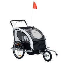 Homcom 2 in 1 Collapsible 2-Seater Kids Stroller