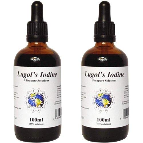 LUGOLS IODINE SOLUTION 2 X 100ML FULL STRENGTH 15% Ultrapure Solutions