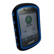 TUFF LUV Silicone Dual Layer Protective Skin Case for Garmin Edge 530 - Blk/Blue