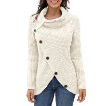 Women's Jumper Knitted Sweater Loose Turtleneck Solid Warm Asymmetrical Wrap Pullover Long Sleeve Tops