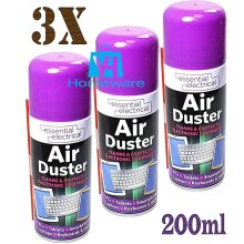 3 x 200ml Compressed Air Duster Can Spray Clean Laptop Keyboard Computers Mobile