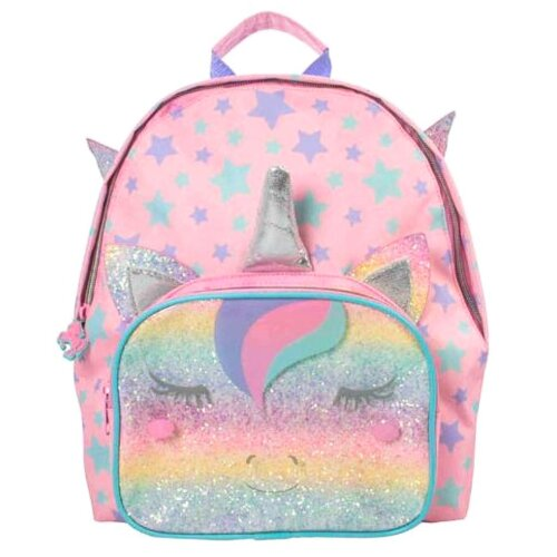 Girls Unicorn Rainbow Backpack with Front Zip Pocket