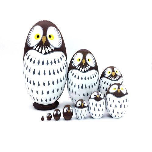 Matryoshka 10-Layer Owl Egg-shaped Russian Wooden Toy Craft