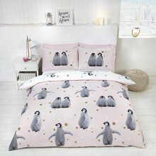 Rapport Starry Penguins Duvet Set, Single-Pink, Polyester-Cotton,