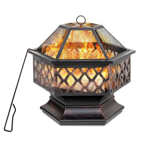 HEATSURE Hexagonal Fire Pit BBQ Firepit Brazier Bowl Garden Stove Patio Heater