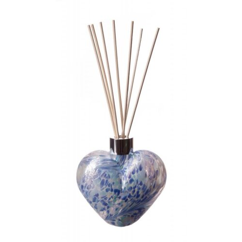 Heart Shaped Reed Diffuser White Sage Blue by Amelia Art Glass