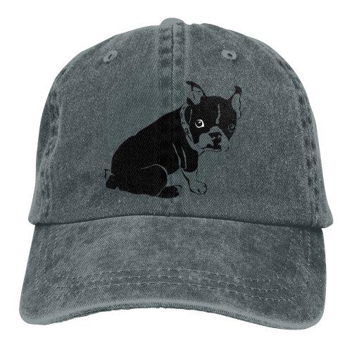 Boston Terrier Dog Denim Baseball Caps