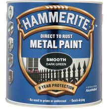 Hammerite SFDG250 Direct to Rust Smooth Finish Metal Paint Dark Green 250ml