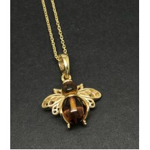 Amber bee pendant necklace, gold on solid Sterling silver.
