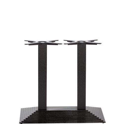 Black Cast Iron Rectangular Step Table Base - Twin - Dining height - 720 mm