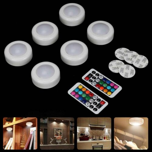 6x LED Under Cabinet Lights Dimmable RGB Puck Lights Closet Lighting