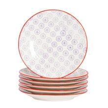 Patterned Dessert Side Wedding Porcelain Kitchen Plates Purple Red 180mm x6