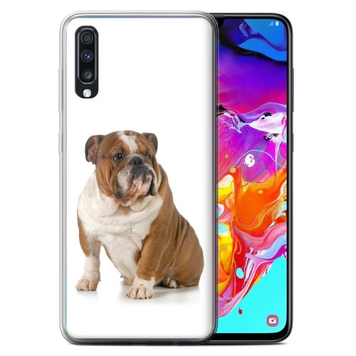 (Bulldog) Dog Breeds Samsung Galaxy A70 2019 Phone Case Transparent Clear Ultra Soft Flexi Silicone Gel/TPU Bumper Cover for Samsung Galaxy A70 2019