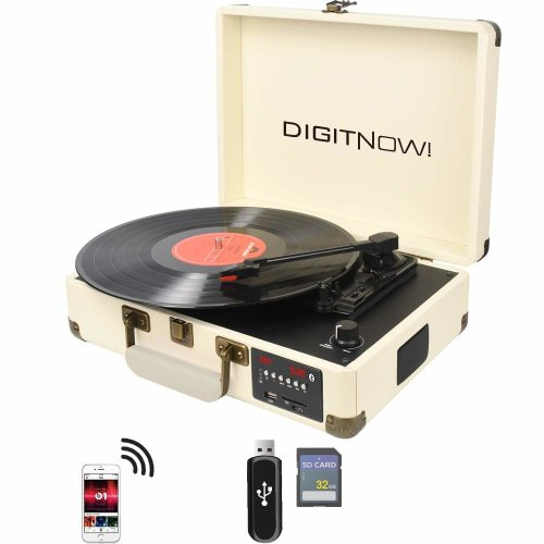 DIGITNOW! Cream 3-Speed Retro Bluetooth Record Player With Built-in Speakers