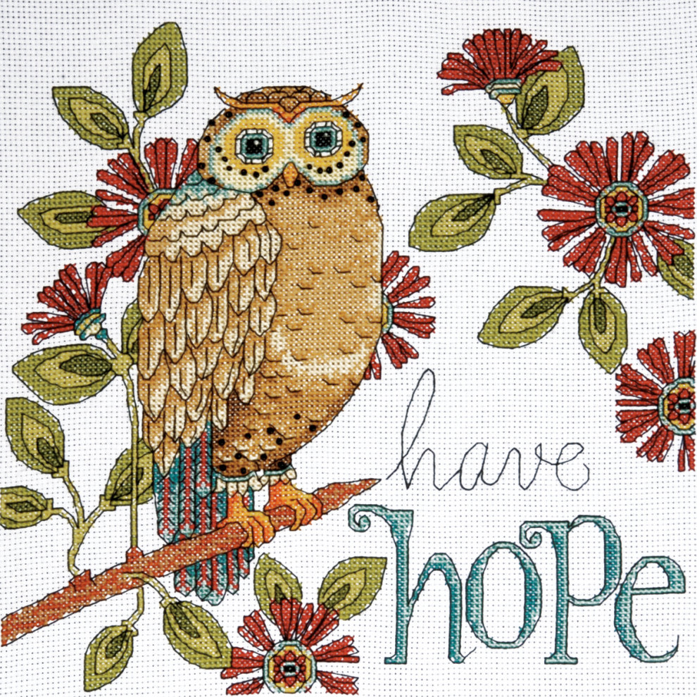 14 Count Design Works Counted Cross Stitch Kit 10X10-Owl
