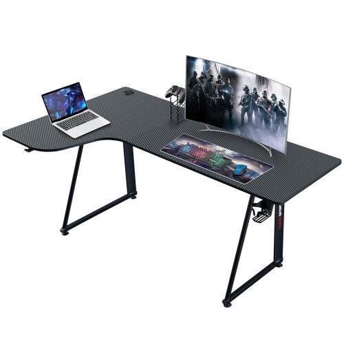 (Left Corner) L Shaped Computer Laptop Desk Corner Gaming Desk with Headphone Hook and Cup Holder