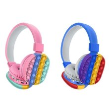 NEW Pop It Decompression Kids Headset Toy Fidget Wireless Headphone