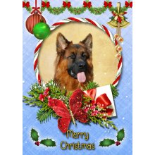 "German Shepherd Christmas Greeting Card 8""x5.5"""
