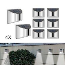 Four LED solar garden wall fence lights outdoor  terrace wall lights